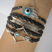 Combined Bracelet / Antiqued Bronze Disney Brave Merida Bow , Evil Eye Bracelet, Hamsa Hand Bracelet, Way Will Bracelet, Black Braid