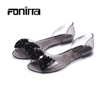 Summer 2016 Fashion Leisure Women Sandals Big Bowtie Peep Toe Soft Women Casual Sandals Clear Crystal Zapatilla Mujer 153