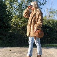 Faux Fur Teddy Coat - Taupe