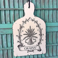 French White Cutting Board with Kitchen Themed Grains Graphic Home Decor Wood Sign Cottage Chic Shabby Provincial Wall Decoration