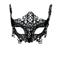 Black Fox Crochet Lace Mask