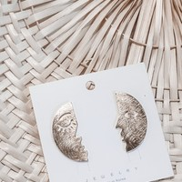 Eskimo Kiss Face Print Brushed Gold Earrings
