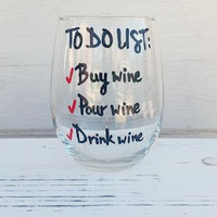 To-Do List hand painted stemless wine glass