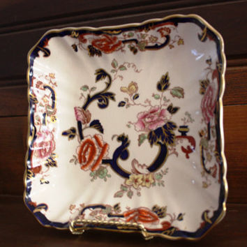 Vintage and Highly Collectible Mason's Ironstone Square Serving Dish- Mandalay Pattern