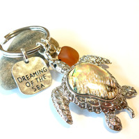 Turtle Keychain, Sea Glass Keychain, Gifts