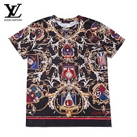 LV New fashion monogram print couple couple top t-shirt