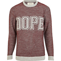 River Island MensRed dope textured crew neck sweater