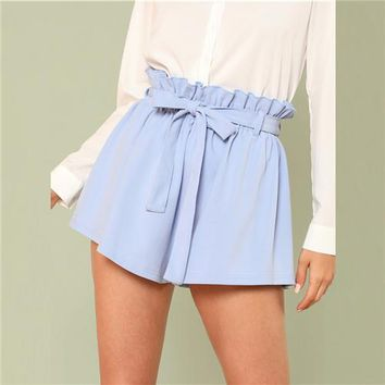 Hot Shorts SHEIN Blue Vacation Boho Bohemian Beach Ruffle Trim Self Tie Elastic High Waist Belted  Summer Women Casual AT_43_3
