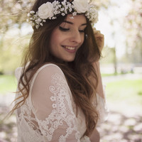 The Olivia White Rose and Baby's Breath Flower Crown