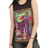 Disney Sleeping Beauty Maleficent Stained Glass Girls Muscle Top