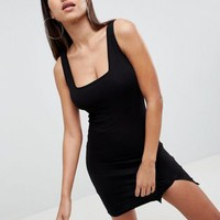 ASOS DESIGN square neck mini bodycon dress at asos.com