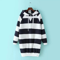 Black And White Stripe Hoodie Loose Sweatshirt