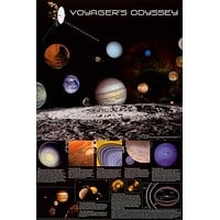 Voyager's Odyssey NASA Space Exploration Poster 24x36