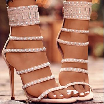 New hot sale fashion hot rhinestone high heel sandals