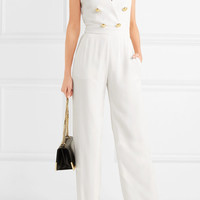 Balmain - Button-detailed crepe jumpsuit