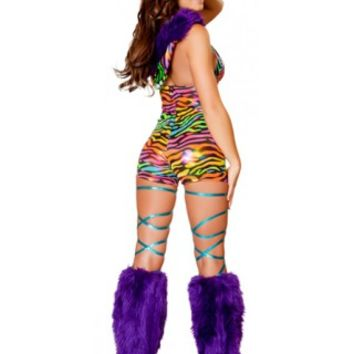 Rainbow Zebra Romper Rave Party Outfit - Rave Clothes