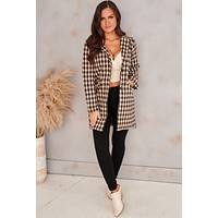 What I Like About You Houndstooth Coat (Brown)