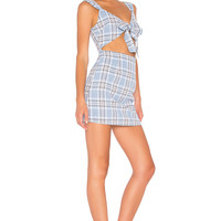 by the way. Jules Tie Front Cut Out Dress in Blue Plaid