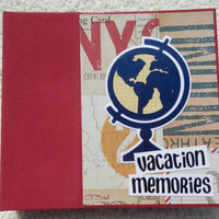 6 x 6 Dark Red Vacation Memories Travel Scrapbook Album