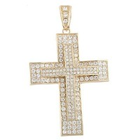 Goldtone with Clear Iced Out Double Cross Pendant