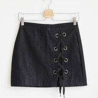 Stilla Leatherette Mini Skirt
