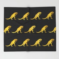 Golden T.Rex Pattern Throw Blanket by Chobopop