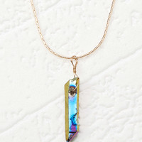 Faux Rainbow Druzy Necklace