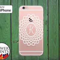 Single Initial Monogram Web Pattern White Cute Clear Rubber Phone Case for iPhone 5/5s and 5c and iPhone 6 and 6 Plus + and iPhone 6s