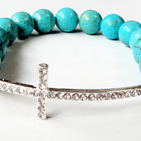 "Blue Turquoise Silver Sideways Cross Stretchy Beaded  Elastic  Bracelet, Fits up to 8.5"" Bridesmaid Gift"