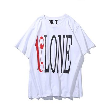 VLONE LIFE European and American fashion personality big V letter printing cotton T-shirt youth casual short sleeve
