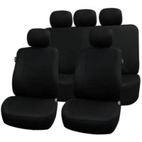 FH Group FB051BLACK115 Black Rear Split Flat Cloth Seat Cover (Multifunctional Airbag Compatible Full Set)