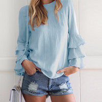 Basic Ruffle Sleeve Blouse