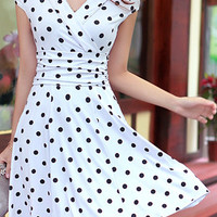 White and Black Polka Dot Sundress