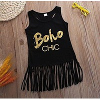 2016 Fashion Toddler Kids Baby Girl Summer Clothes Sleeveless Tassel Tops Dress Fashion Casual Girls Clothes kid dress