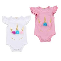 Newborn Infant Baby Girls Cotton One-Peice Summer Clothes Print Ruffles Sleeveless Romper Short Jumpsuit Outfit Sunsuit Clothes