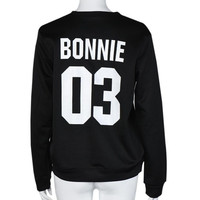 "New Arrival  Long Sleeve Womens Tops ""BONNIE 03,CLYDE 03"" Letter Print Lovers T-Shirt Femme Plus Size Couple Clothes GS"