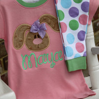 Easter Bunny Pajamas for Girls - Personalized soft, organic cotton jammies with soft bunny - pastel pink, purple, blue and mint polka dots