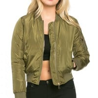Silky Flight Bomber Jacket in Olive Green (Plus Sizes Available)