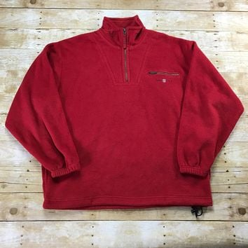 Vintage Gant U.S.A. Rugger Red Fleece Jacket Mens Size XL
