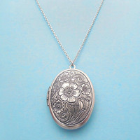 Flower Locket Necklace, Sterling Silver chain available, Personal Locket Jewelry