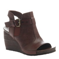 Distressed Leather Stacked Wedge by OTBT - Acorn