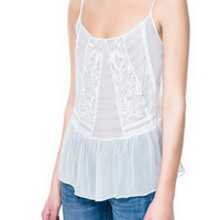 EMBROIDERED STRAPPY TOP - Shirts - TRF - ZARA United States