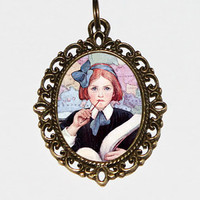 Book Girl Necklace, Reading Jewelry, School Girl, Books, Oval Pendant