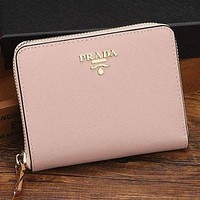Prada Women Leather Zipper Wallet Purse bag