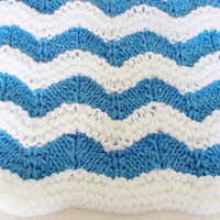 Hand Knit Ripple Afghan Baby Blanket, Blue White Striped Nautical Nursery, Toddler Child Newborn Infant Cover, Warm Winter Coming Home Gift