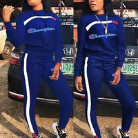 Champion tide brand women's sports and leisure embroidery letters color sportswear two-piece Blue