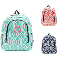 Large 16 Inch Vine Printed School Backpack Free Personalization With Embroidery