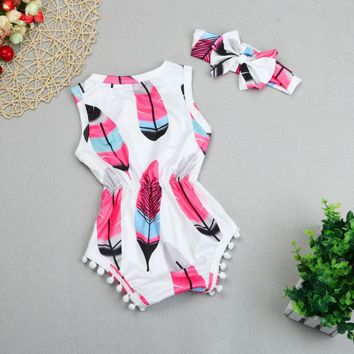 White and Pink Baby Girl Feather Romper Infant Toddler Onesuit One Piece Outfit with Headband