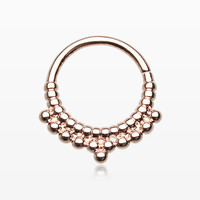 zzz-Rose Gold Rhea Spherule Septum Twist Loop Ring