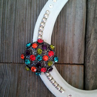 HORSESHOE Decorated With Colorful Brooch Gift for Cowgirl Cowboy Country Western Home Wall Decor Lucky Horse Shoe Equestrian Rodeo Good Luck